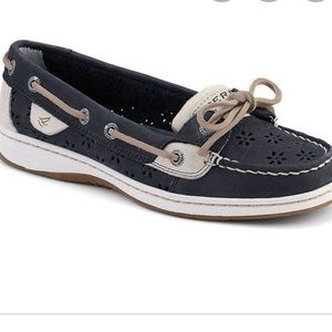 Sperry Angelfish Navy shoes with floral cutouts!